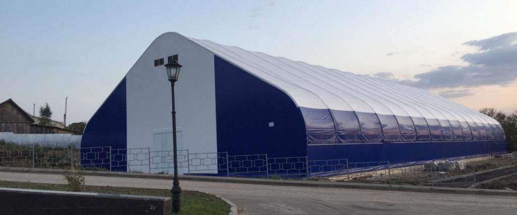 Каркасно тентовый ангар для укрытия ледовой арены