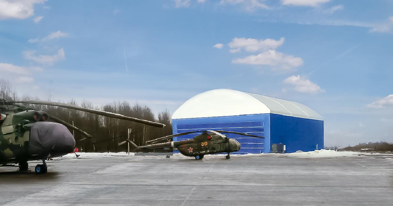 Быстровозводимые каркасно-тентовые ангары под самолет и вертолет производства компании TENTMAX
