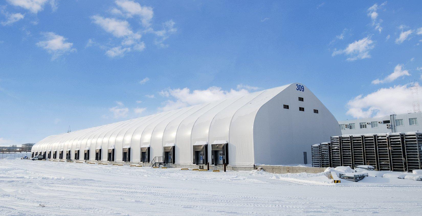 Быстровозводимые каркасно-тентовые склады и ангары от компании TENTMAX